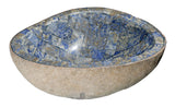 "Bathroom Vessel Sink, 19-1/2"" Amberstone Natural Boulder Granite, Allstone Group, V-VNRAMS-S-#08 - Showroom Sinks"