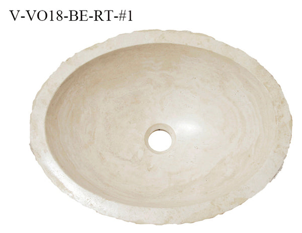 "Stone Vessel Sink, 18"" Roma Travertine, Oval-Shaped, Allstone Group, V-VO18-BE-RT"