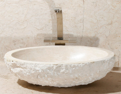 "Stone Vessel Sink, 18"" Roma Travertine, Honed with rock pitch outside, Oval Single Bowl, Allstone Group, V-VO18-BE-RT"