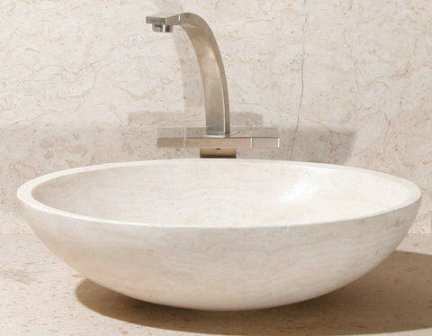 "Stone Vessel Sink, 18"" Carrara White Marble, Oval Single Bowl, Allstone Group, V-VO18-RT"