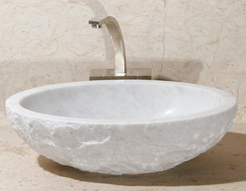 "Stone Vessel Sink, 20″ x 14"" Carrara White Marble, Allstone Group, V-VO20146-BE-CW"