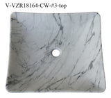 "Stone Vessel Sink, 18″ x 16"" Carrara White Marble, Allstone Group, V-VZR18164-CW"