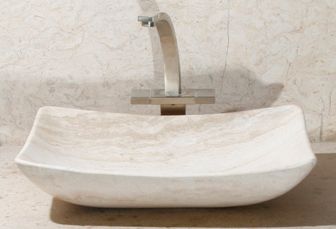 "Stone Vessel Sink, 18″ x 16"" Roma Travertine, Allstone Group, V-VZR18164-RT-#1"