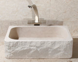 "Stone Vessel Sink, 18″ x 15"" Crema Lyon Limestone, Allstone Group, VF18155-BE-CL"