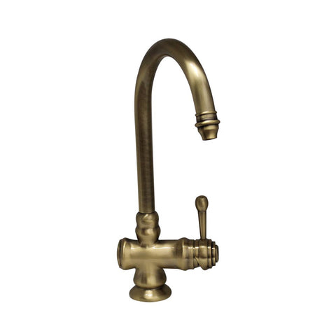 Whitehaus Deck Mount Single Hole Goose Neck Single Lever Mixer - Antique Brass WH17606-AB