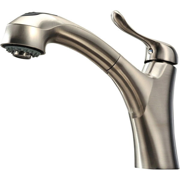 Whitehaus Single Hole Faucet With Pull Out Spray - Brushed Nickel WH2070952-BN