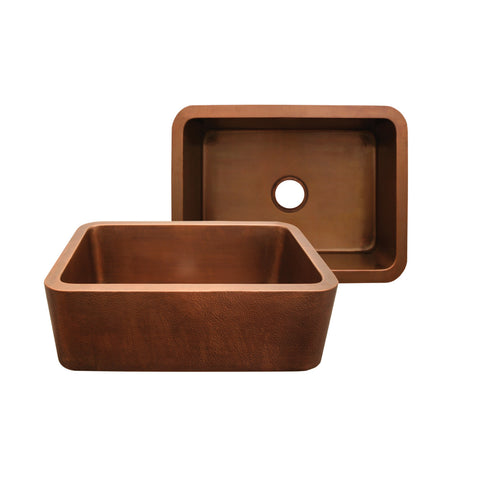 "Whitehaus 25"" Single Bowl Copper Farmhouse Apron Front Sink - Smooth Bronze WH2519COFC-OBS"