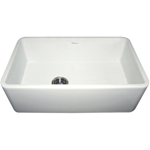 "Whitehaus 30"" Single Bowl Fireclay Farmhouse Apron Front Kitchen Sink - White WH3018"
