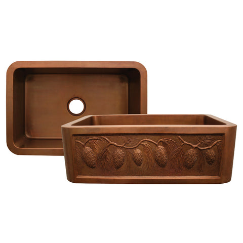 "Whitehaus 30"" Single Bowl Copper Farmhouse Apron Front Sink - Smooth Bronze WH3020COFCPC-OBS"