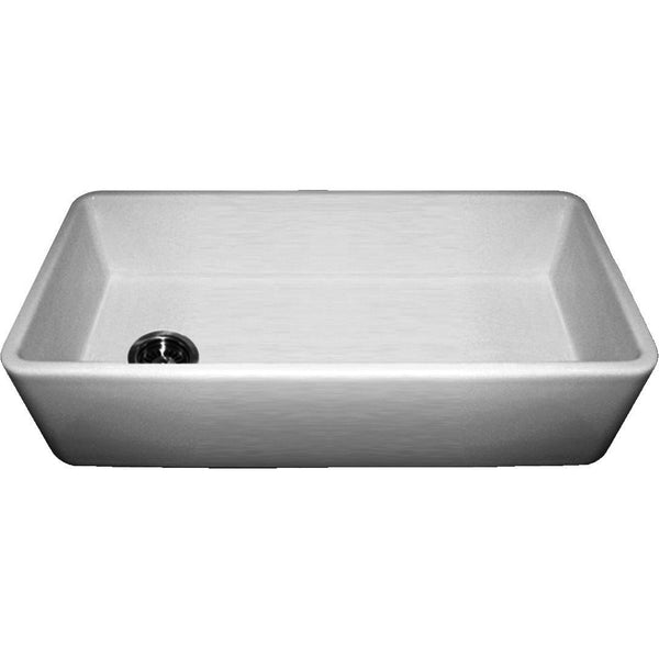 "36"" Fireclay Farmhouse Sink, Single Bowl, Thick Wall, Reversible, Whitehaus, WH3618 - Showroom Sinks"