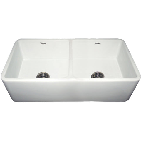 "Whitehaus Double Bowl 37"" Fireclay Farmhouse Apron Kitchen Sink - White WH3719"