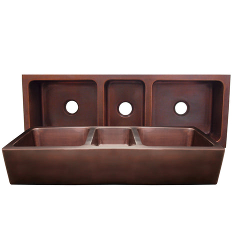 "Copper Farmhouse Sink, 53"", Triple Bowl, Whitehaus, WH5319COFCT"