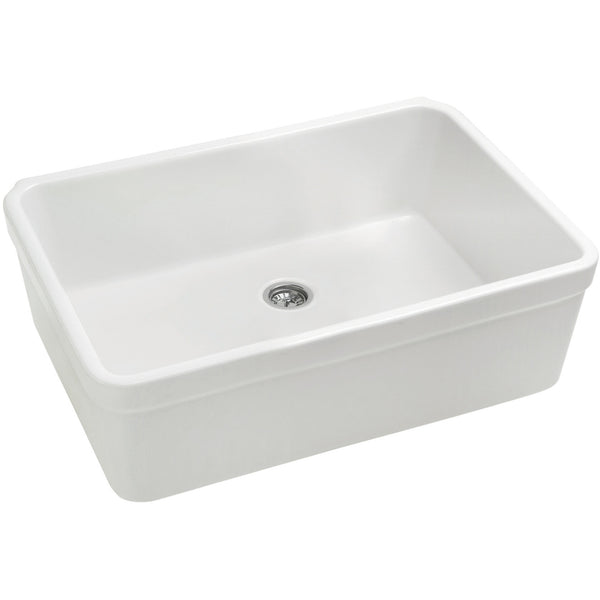 "26"" White Fireclay Farmhouse Sink, Single Bowl, Smooth Apron With Decorative Lip, Whitehaus Basichaus, WHB2620 - Showroom Sinks"