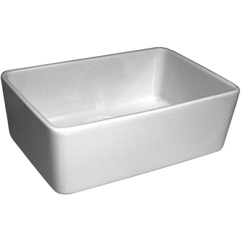 "24"" White Fireclay Farmhouse Sink, Single Bowl, Smooth Apron, Whitehaus Basichaus, WHB5033 - Showroom Sinks"