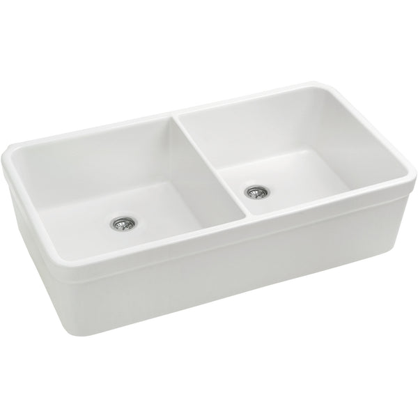"32"" White Fireclay Farmhouse Sink, Double Bowl, Smooth Apron With Decorative Lip, Whitehaus Basichaus, WHB5122 - Showroom Sinks"