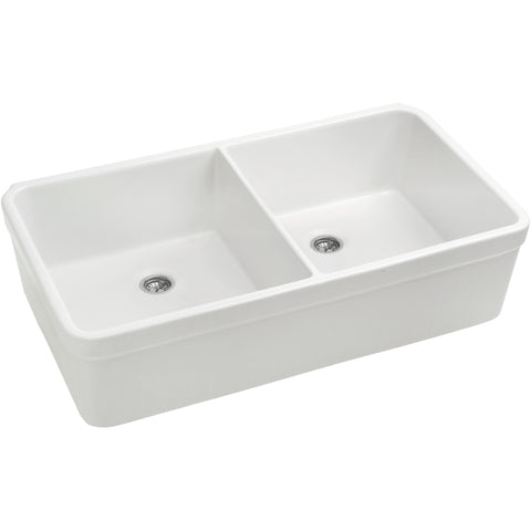 "Whitehaus 32"" Double Bowl Fireclay Sink With Smooth Apron And 2"" Lip - White WHB5122"