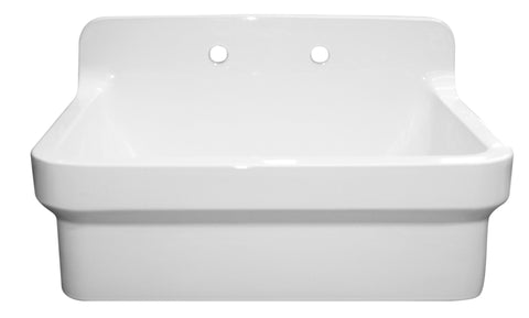"Whitehaus 30"" Fireclay Farmhouse Kitchen Sink With High Backsplash - WHCW3022-8-WHITE"