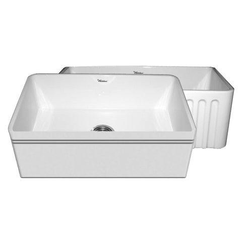 "30"" Fireclay Farmhouse Sink, Single Bowl, Reversible - Decorative Lip Or Fluted, Whitehaus, Quatro Alcove, WHFLAL3018 - Showroom Sinks"