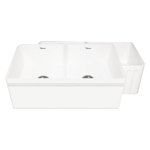 "33"" Fireclay Farmhouse Sink, Double Bowl, Reversible - Decorative Lip Or Fluted, Whitehaus Quatro Alcove, WHFLAL3318 - Showroom Sinks"
