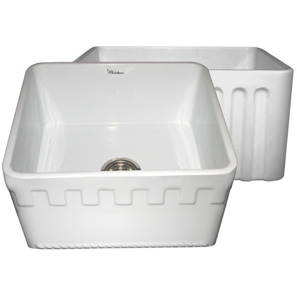 "20"" Fireclay Farmhouse Sink, Single Bowl, Reversible - Athinahaus Or Fluted, Whitehaus, WHFLATN2018 - Showroom Sinks"