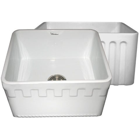 "Whitehaus 20"" Reversible Fireclay Farmhouse Kitchen Sink - White WHFLATN2018"