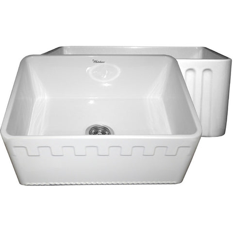 "24"" Fireclay Farmhouse Sink, Single Bowl, Reversible - Athinahaus Or Fluted, Whitehaus, WHFLATN2418 - Showroom Sinks"
