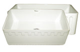 "30"" Fireclay Farmhouse Sink, Single Bowl, Reversible - Athinahaus Or Fluted, Whitehaus, WHFLATN3018 - Showroom Sinks"