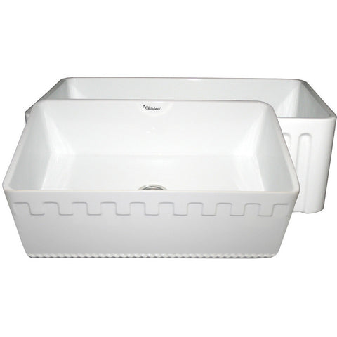 Whitehaus Single Bowl Fireclay 30'' Farmhouse Apron Front Sink - White WHFLATN3018