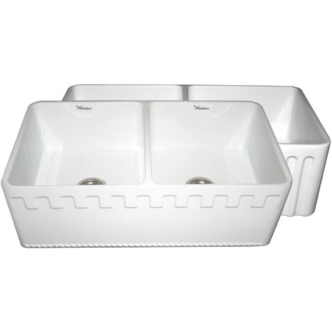 "33"" Fireclay Farmhouse Sink, Double Bowl, Reversible - Athinahaus Or Fluted, Whitehaus, WHFLATN3318 - Showroom Sinks"