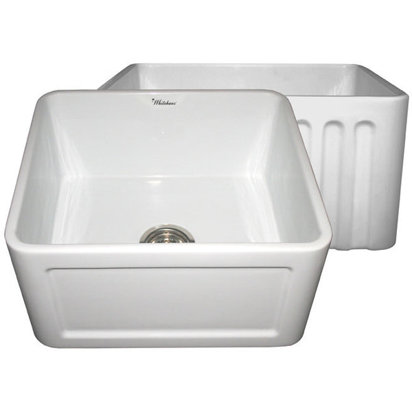 "20"" Fireclay Farmhouse Sink, Single Bowl, Reversible - Concave Or Fluted, Whitehaus, WHFLCON2018 - Showroom Sinks"