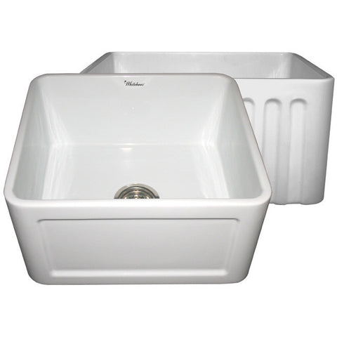"Whitehaus 20"" Reversible Fireclay Farmhouse Kitchen Sink - White WHFLCON2018"