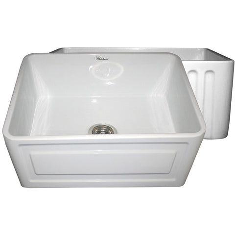 "24"" Fireclay Farmhouse Sink, Single Bowl, Reversible - Concave Or Fluted, Whitehaus, WHFLCON2418 - Showroom Sinks"