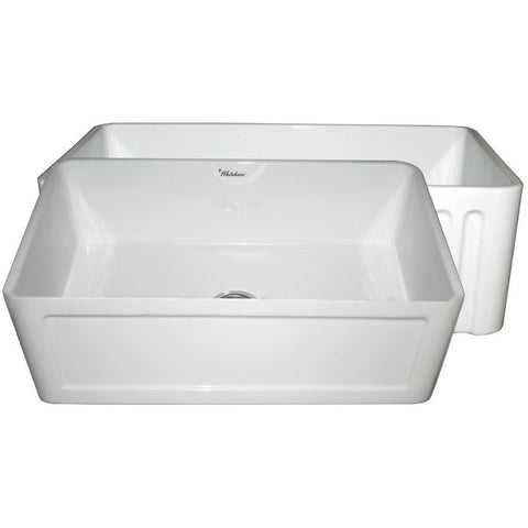 "30"" Fireclay Farmhouse Sink, Single Bowl, Reversible - Concave Or Fluted, Whitehaus, WHFLCON3018 - Showroom Sinks"