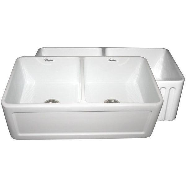 "33"" Fireclay Farmhouse Sink, Double Bowl, Reversible - Concave Or Fluted, Whitehaus, WHFLCON3318 - Showroom Sinks"