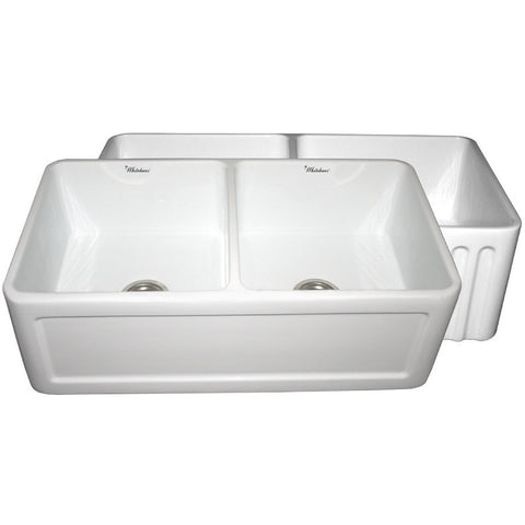 "Whitehaus 33"" Fluted or Concave Double Bowl Fireclay Farm Sink - White WHFLCON3318"