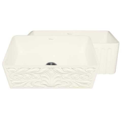 "30"" Biscuit Fireclay Farmhouse Sink, Single Bowl, Reversible - Gothic Swirl Or Fluted, Whitehaus Gothichaus, WHFLGO3018 - Showroom Sinks"