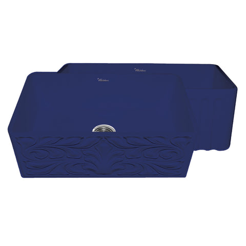 "30"" Blue Fireclay Farmhouse Sink, Single Bowl, Reversible - Gothic Swirl Or Fluted, Whitehaus Gothichaus, WHFLGO3018 - Showroom Sinks"