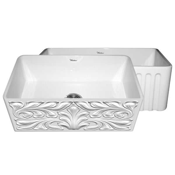 "30"" Fireclay Farmhouse Sink, Single Bowl, Reversible - Gothic Swirl Or Fluted, Whitehaus Gothichaus, WHFLGO3018 - Showroom Sinks"