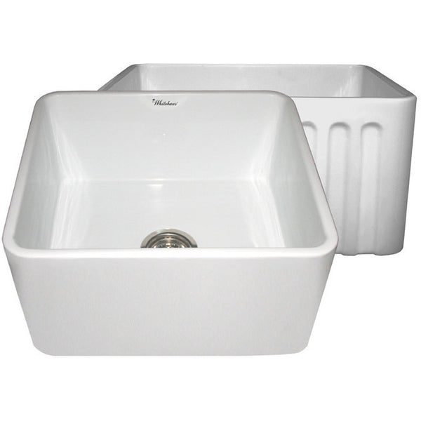 "20"" Fireclay Farmhouse Sink, Single Bowl, Reversible - Fluted Or Plain, Whitehaus, WHFLPLN2018 - Showroom Sinks"