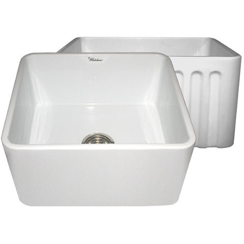 "Whitehaus 20"" Fluted & Smooth Reversible Fireclay Farm Sink - White WHFLPLN2018"
