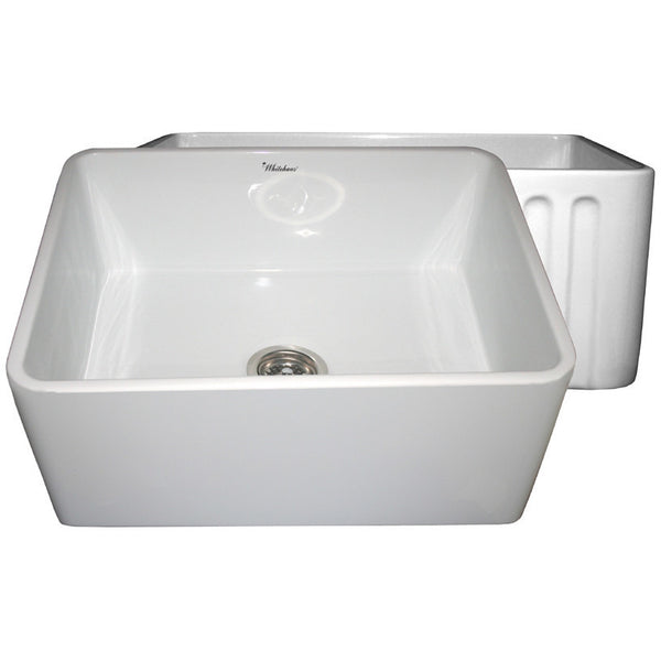 "24"" Fireclay Farmhouse Sink, Single Bowl, Reversible - Fluted Or Plain, Whitehaus, WHFLPLN2418 - Showroom Sinks"
