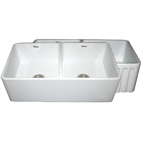 "Whitehaus 33"" Double Bowl Fluted & Plain Fireclay Farm Sink - White WHFLPLN3318"