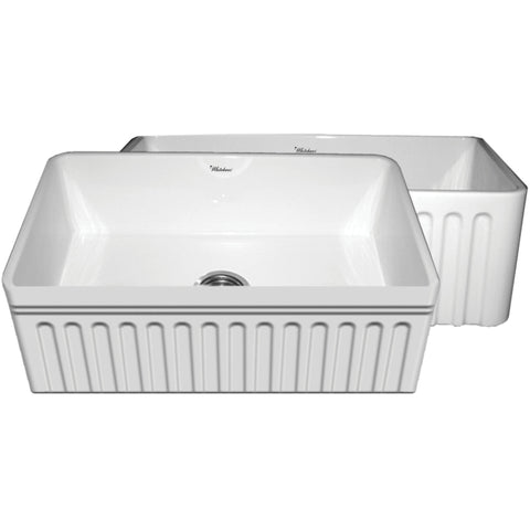 "30"" Fireclay Farmhuse Sink, Single Bowl, Fluted Apron, Decorative Lip, Whitehaus, WHFLQ3018 - Showroom Sinks"