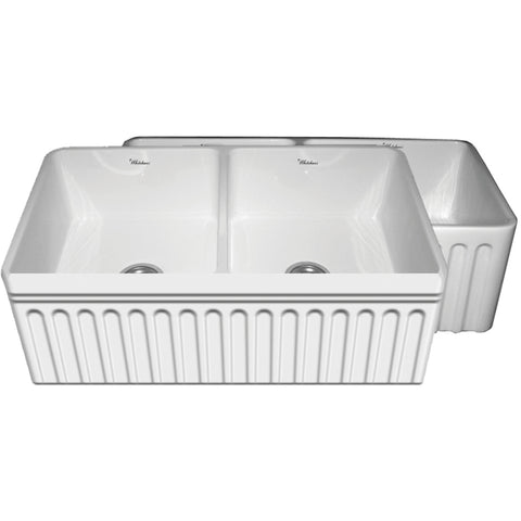 "33"" Fireclay Farmhouse Sink, Reversible, Double Bowl, Whitehaus Quatro Alcove, WHFLQ3318 - Showroom Sinks"