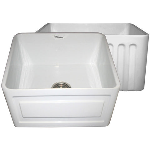 "20"" Fireclay Farmhouse Sink, Single Bowl, Reversible - Raised Panel Or Fluted, Whitehaus, WHFLRPL2018 - Showroom Sinks"