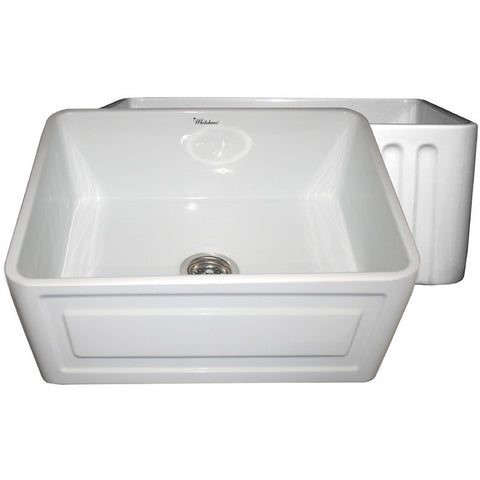 "24"" Fireclay Farmhouse Sink, Single Bowl, Reversible - Raised Panel Or Fluted, Whitehaus, WHFLRPL2418 - Showroom Sinks"