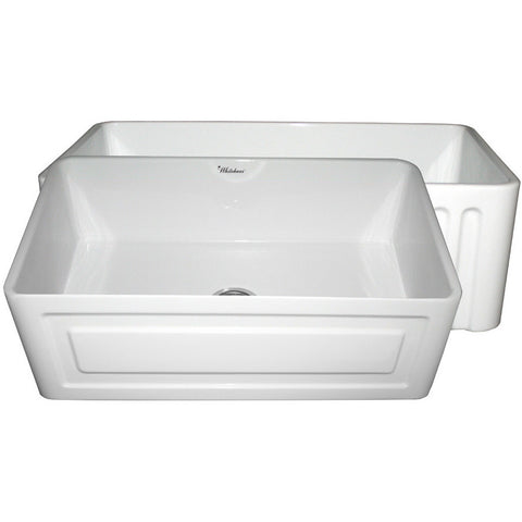 "30"" Fireclay Farmhouse Sink, Single Bowl, Reversible - Raised Panel Or Fluted, Whitehaus, WHFLRPL3018 - Showroom Sinks"