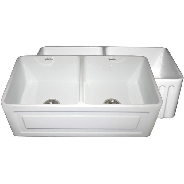"Whitehaus 33"" Raised Panel or Fluted Reversible Fireclay Farm Sink - White WHFLRPL3318"