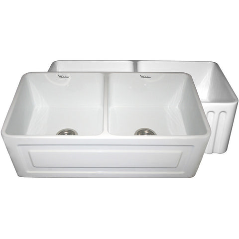 "33"" Fireclay Farmhouse Sink, Double Bowl, Reversible - Raised Panel Or Fluted, Whitehaus, WHFLRPL3318 - Showroom Sinks"