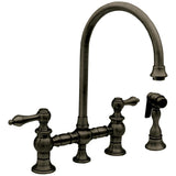 Whitehaus Vintage Lever Bridge Kitchen Faucet with Side Spray - WHKBLV3-9101